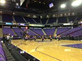 The Sacramento Kings dancers warm up before Wednesday's home opener against the Denver Nuggets. (Oct. 30, 2013)