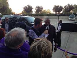 Sacramento native Dusty Baker arrives at Sleep Train Arena for the team's home opener against the Denver Nuggets. (Oct. 30, 2013)