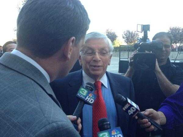 KCRA's Chris Riva speaks with NBA Commissioner David Stern on the VIP purple carpet. (Oct. 30, 2013)