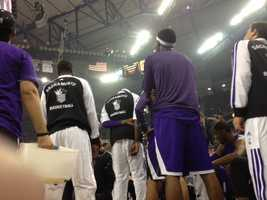 A photo of Kings players during the singing of the Star Spangled Banner. (Oct. 30, 2013)