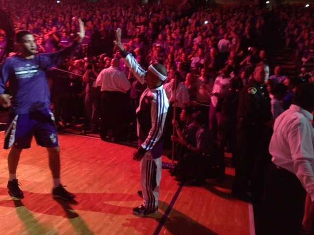 Pregame introductions during the Kings home opener Wednesday night.