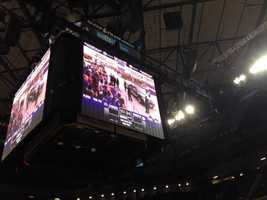 A temporary video screen has been placed at Sleep Train Arena.