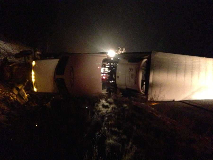 A big rig plowed into two vehicles before flipping onto its side on Interstate 80 near Truckee early Friday morning.