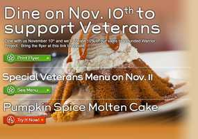 Chili's locations are offering free meals to veterans on Monday (Call ahead to confirm)