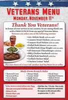 Texas Roadhouse locations are serving a free lunch to veterans on Monday (Call ahead to confirm)
