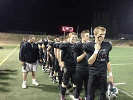 Valley Christian players before Friday night's game against Delta. (Nov. 8, 2013)
