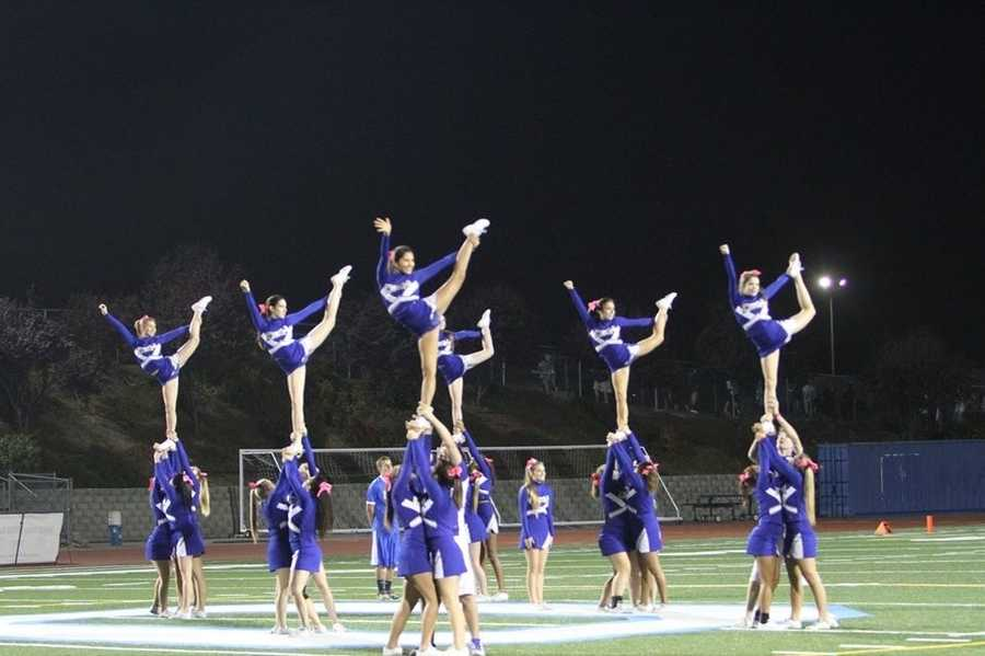 #21 - Del Campo Cougar cheerleaders are in perfect formation for this photo.
