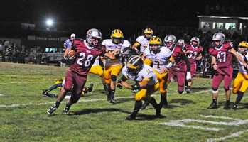 #39 - Caleb Johnson of Bear River tries to edge past some Placer Hillmen.