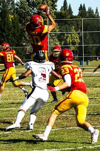 #48 - Matthew Coyle catches a pass for the Jesuit Marauders.