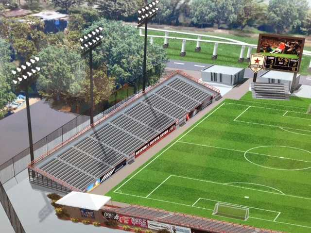Artist renderings of a proposed soccer stadium at Cal Expo were released Thursday.