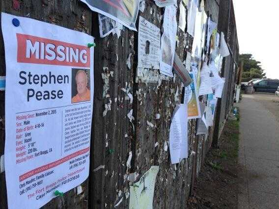 """A """"missing"""" flyer for Steve Pease hangs on a bulletin board in Mendocino."""