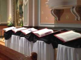 All seven Heritage Edition volumes of The Saint John's Bible will be exhibited in Sacramento this weekend for the first time. Here are five of the seven hand-bound books on display.