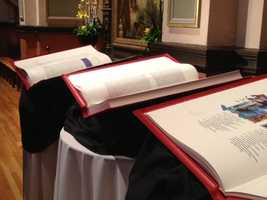 On Friday, the media got a sneak preview at the Cathedral of Blessed Sacrament. Each book is bound in leather.