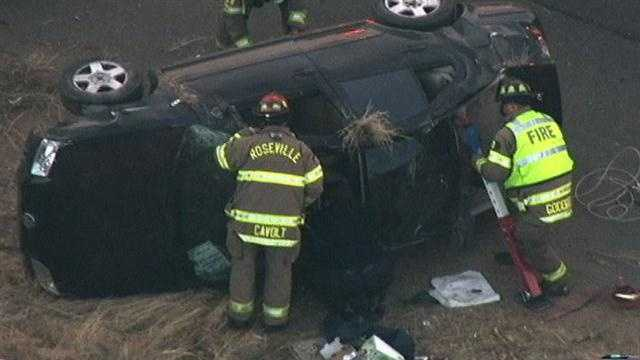 At least one victim was extricated out of a vehicle along Interstate 80 in Roseville early Monday morning.