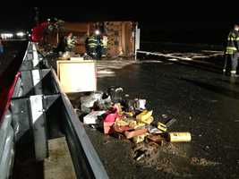 Some debris spills over to southbound lanes on Interstate 5, but motorists traveling south were mostly undisturbed.