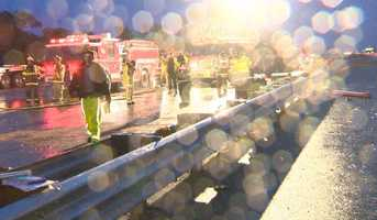 Authorities feared that the tanker could spill more fuel onto the highway.