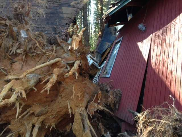 Last year around Christmas time, another tree fell on the same house, and took out the porch, officials at the scene told KCRA 3.