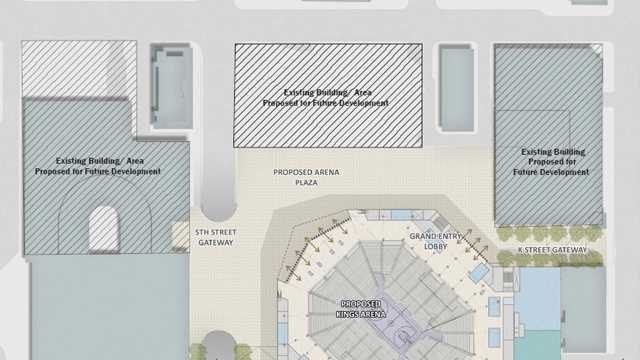 A photo of the site plans for a downtown Sacramento arena, released by the Sacramento Kings