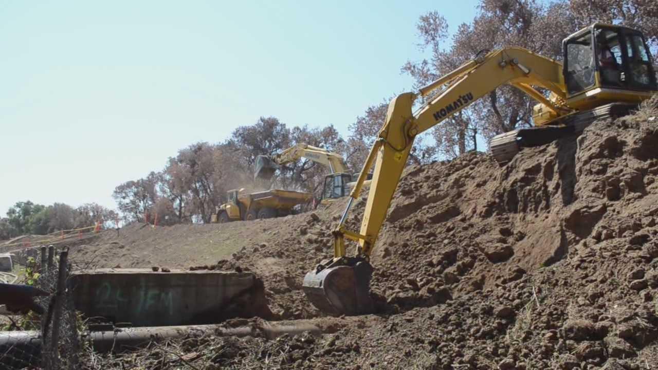 Levee repairs at vulnerable spots along American River