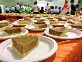 Slices of pumpkin pie wait to be served at the Pannell Community Center.
