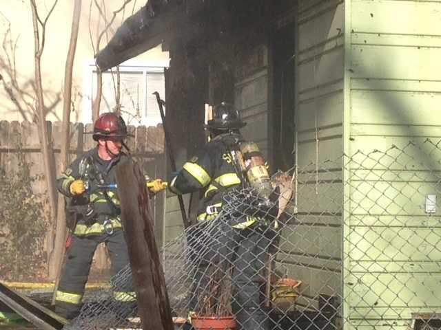 Four people were taken to a hospital following a house fire in Sacramento on Stockton Boulevard.