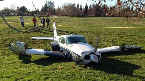 This plane made an emergency landing at a Fair Oaks park on Thursday. (Dec. 5, 2013)