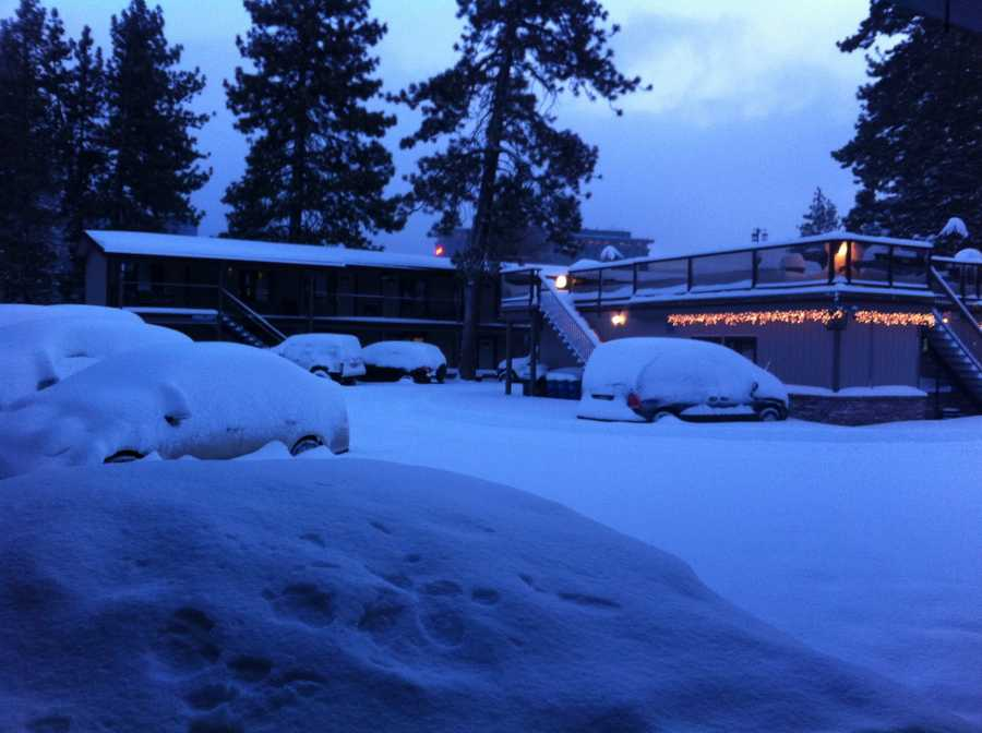 Snow covers the Stardust Hotel in South Lake Tahoe, Calif. (Dec. 7, 2013)