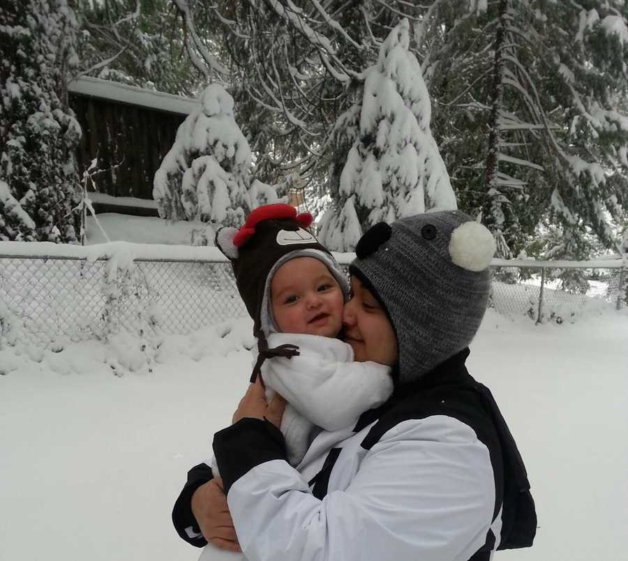 """The photo was titled """"Baby's First Snowfall""""."""