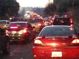 The icy road conditions on Sunrise Boulevard caused a crash which backed up traffic for quite a while on Monday.