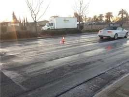 Sunrise Boulevard had some icy roads Monday morning, making it very dangerous for drivers.