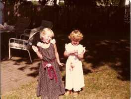 "10. I'm the ham on the left with my cousin Alison. Every family get together, we'd get in costume and put on a ""show!"""