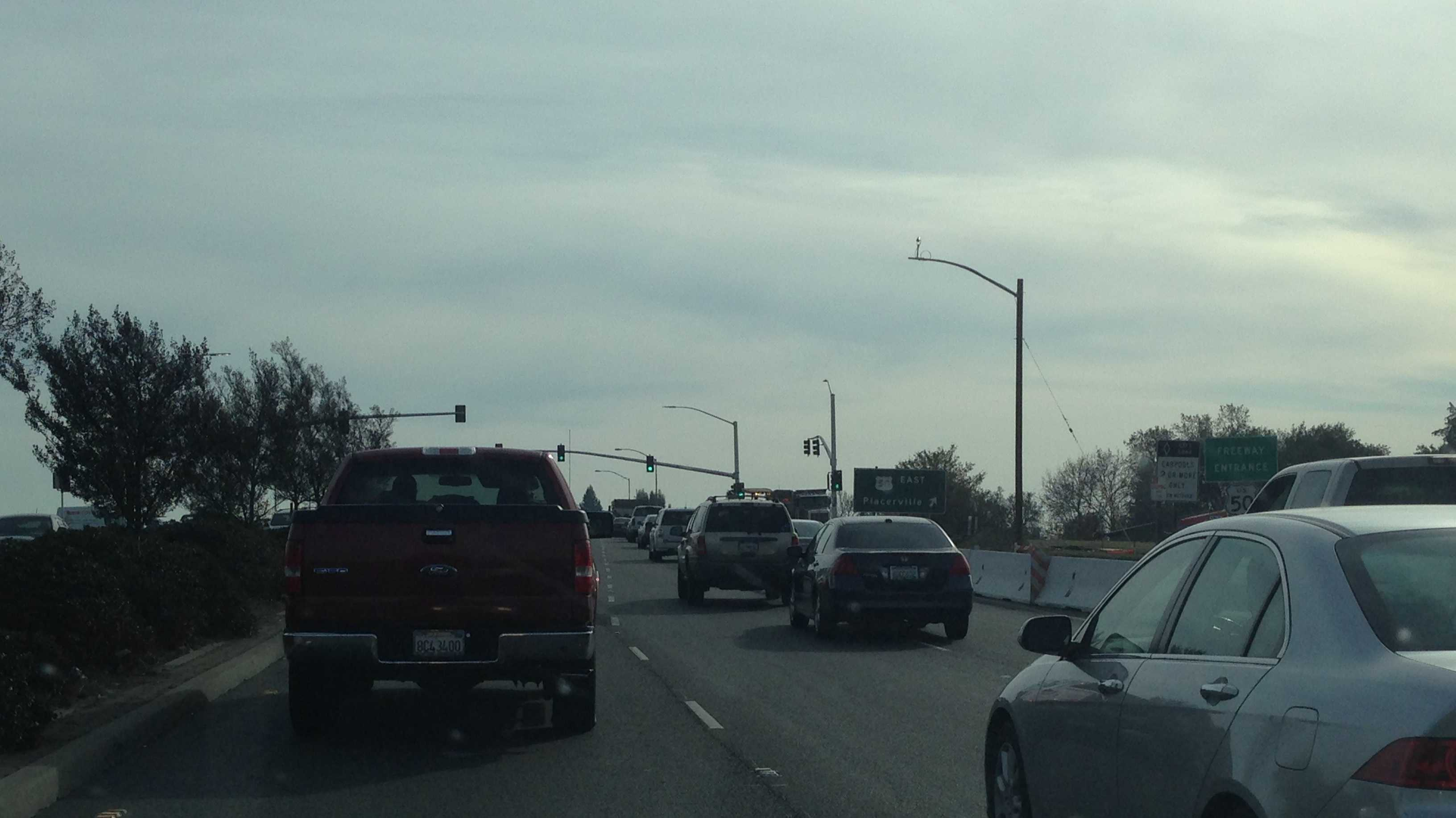 Vehicles crossing Highway 50 on Watt Avenue must now pass through two sets of traffic signal lights.