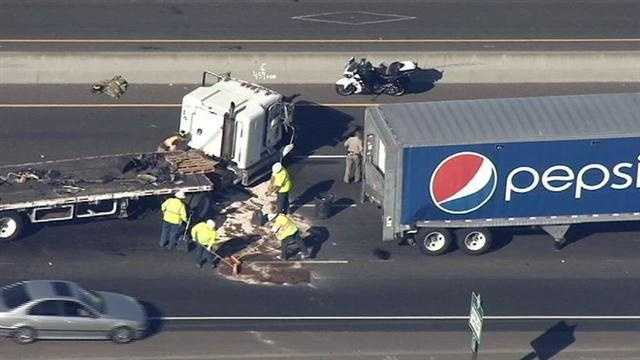 Hazmat crews called to the scene of a big rig crash on Highway 99 near Elk Grove clear diesel fuel from the roadway. The crash also caused a major traffic backup for commuters traveling northbound on the highway in August.