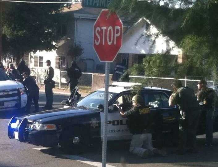 Four officers were injured during a manhunt and then standoff with a wanted parolee in Roseville.