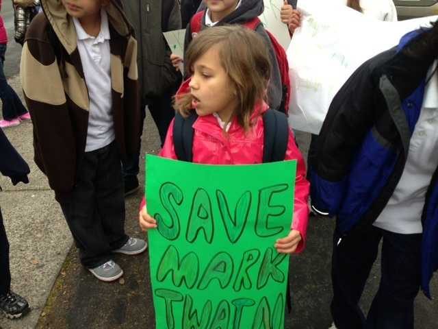 Parents and students protested the planned closure of Mark Twain Elementary School. The school was one of 11 in the Sacramento City Unified School District closed due to under enrollment.