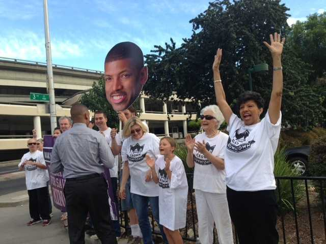 A group of fans gathered near I and Third streets in Sacramento to surprise the mayor as he drove to City Hall. The mayor's mother, Georgia West, also showed her support during the ups and downs of keeping the Kings.