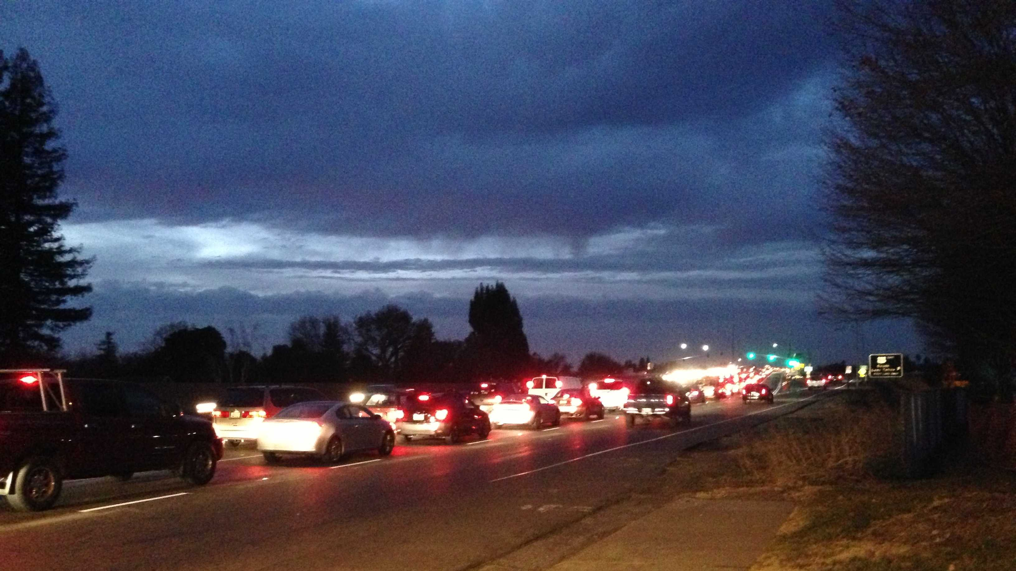 Northbound traffic approaches the Watt Ave. overpass from Folsom Blvd.