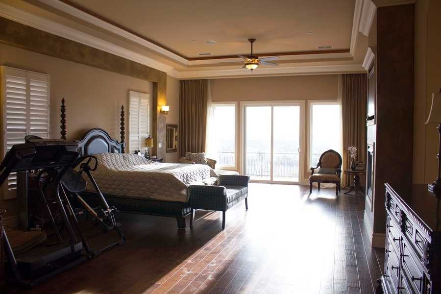 Examples of the home's spaciousness can be seen inside this bedroom.