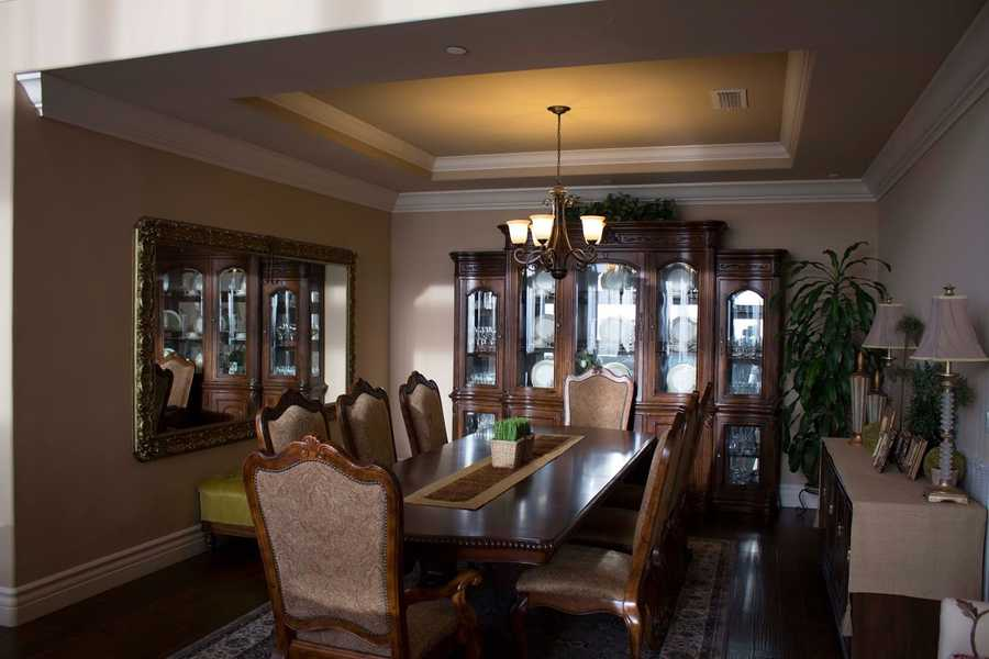 Here's a look inside the home's formal dining area.
