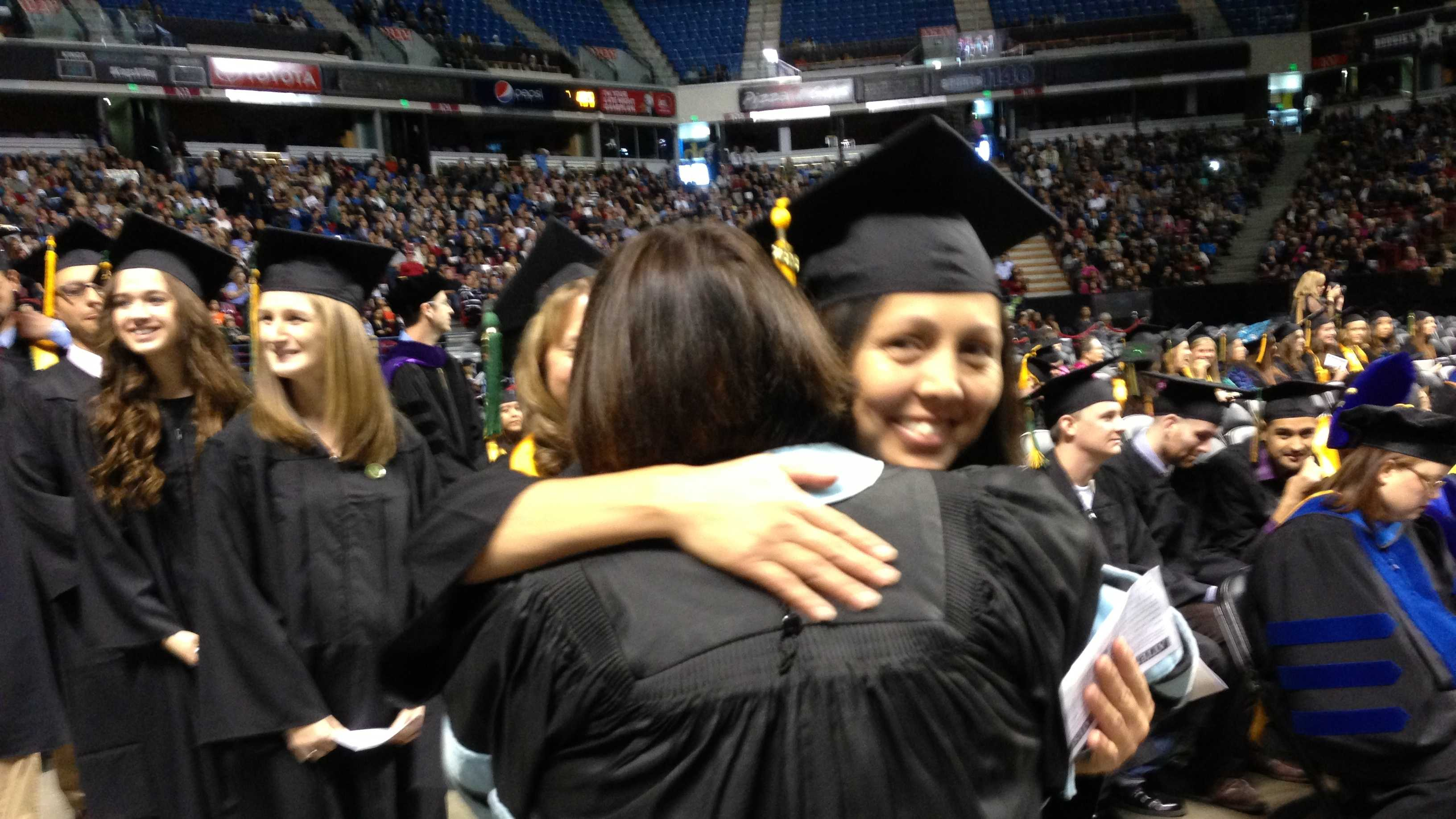 Students take part in Sacramento State University's winter graduation ceremonies.