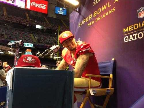 KCRA was at the Super Bowl XLVII press conference in New Orleans and caught a smile from Colin Kaepernick, the San Francisco 49ers quarterback.