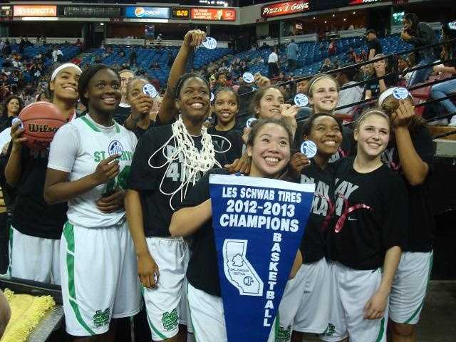 The St. Mary's Rams girls basketball team won the Division I Sac-Joaquin Section championship at Sleep Train Arena, making it their 14th title since 1975.