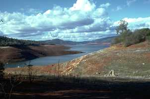 Dirt and rocks were exposed around Lake Shasta during the 1976 drought.