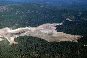 There were extremely low water levels at the Union Valley Reservoir in El Dorado County in 1976.