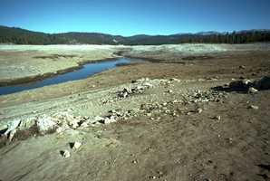 The Union Valley Reservoir, located northeast of Placerville, looked very dry in 1976.