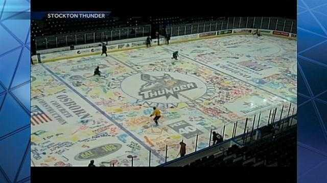 Check out the Stockton Thunder's home ice, which was painted by fans several days ago ahead of the team's game vs. the San Francisco Bulls.