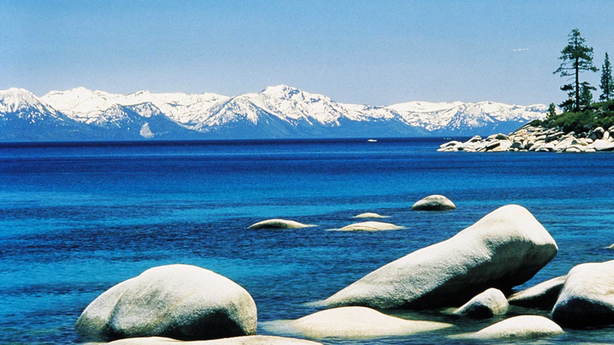 Lake Tahoe is seen here in March 2008, when its mountains had much more snow compared to 2014.