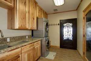 Laundry rooms can be found on both the first floor and second floor of the home.