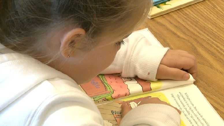 A student reads in the library at Natoma Station Elementary School in Folsom.