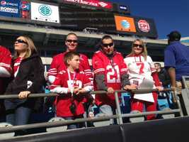 49ers fans at Bank of America Stadium in Charlotte before Sunday's game against the Panthers.